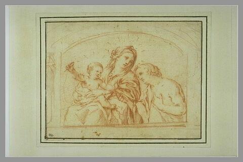 Vierge à l'Enfant avec un personnage en adoration