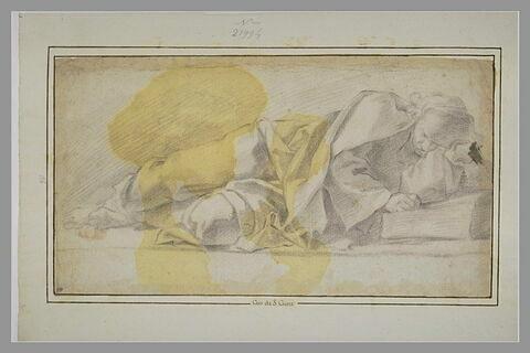 Homme drapé, couché sur le côté gauche, vu de face