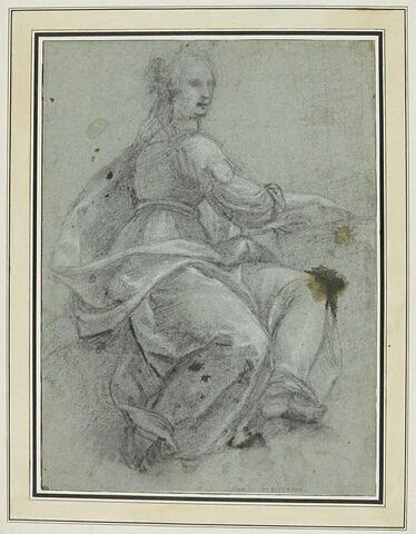 Femme drapée, assise, tournée vers la droite, les mains sur un clavecin