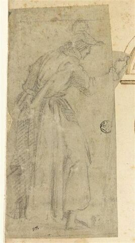 Figure debout, drapée, de profil vers la droite