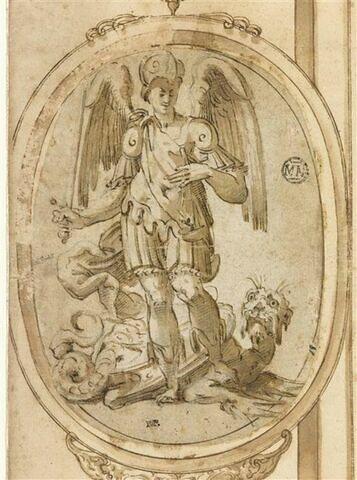 Saint Michel tenant l'épée et la balance et posant le pied sur le dragon