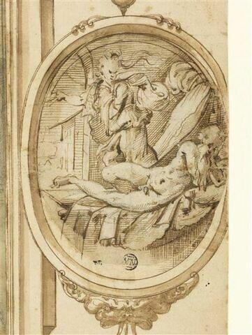 Femme drapée volant près d'un vieillard nu, allongé, endormi sur un lit