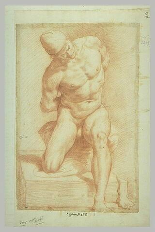 Homme nu, se relevant, la tête coiffée d'un bonnet, les mains derrière le dos ; détail de son pied gauche