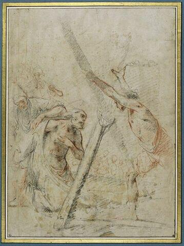 Saint André dépouillé de ses vêtements devant la croix du martyre
