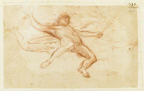 Ange nu, étendu sur le dos, bras et jambes écartés, brandissant une épée ; détails de bras