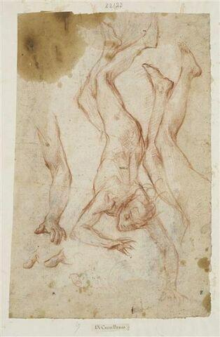 Figure nue précipitant ; reprise des jambes, d'un bras et des doigts