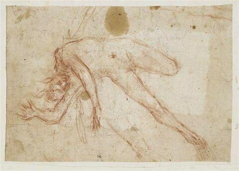 Figure nue, penchée sur son côté droit, jambe gauche repliée, chutant