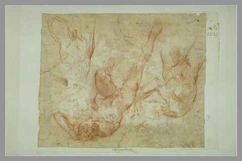 Deux études d'une figure nue, les mains sur la tête, précipitant et esquisse d'une troisième
