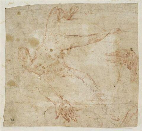Figure nue, tête en bas, bras et jambes écartées, chutant ; détails de deux mains