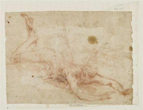 Figure nue vue de dos, bras tendus en avant, jambes pliées, tête tornée vers la gauche, tombant