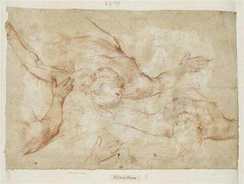 Deux figures nues, étendues sur le dos, les bras écartés, vues en raccourci ; détails de bras et de main