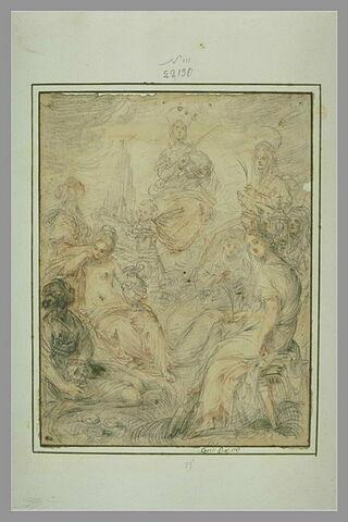 Composition mystique avec sainte Agnès portant l'agneau et sept autres saintes