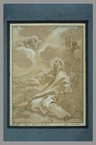 Saint Joseph Calasantis assis à terre, une main sur la poitrine
