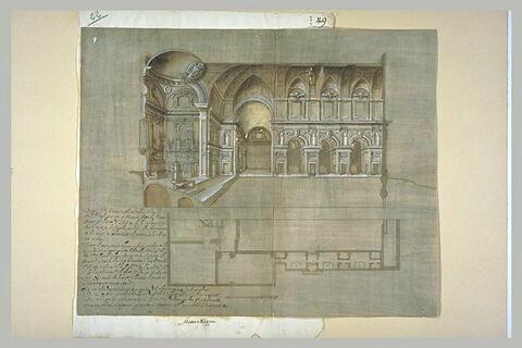 Plan et coupe de San Michele degli Antinori, à Florence