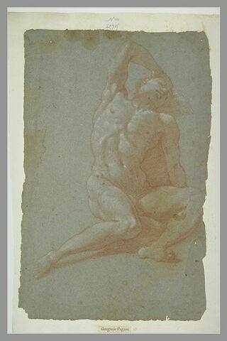 Homme nu, couché sur le dos, la main droite derrière la tête, endormi