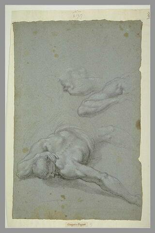 Homme couché à plat ventre, à mi-corps ; bras