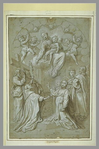 La Vierge donnant le Rosaire à saint Dominique devant des saints