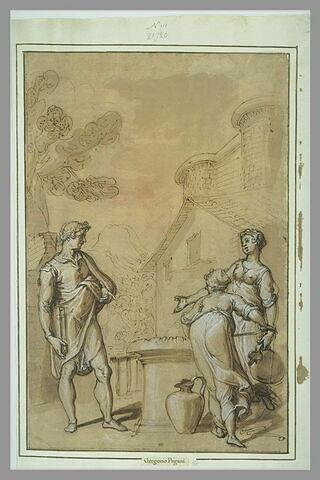 Un homme, portant un livre, s'entretenant avec deux femmes puisant de l'eau