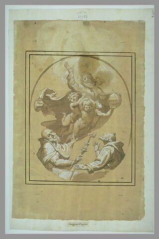 Dieu le Père soutenu par des putti, saint François et saint Nicolas