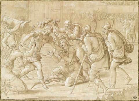 Cassandre empêchant Déiphobe de mettre à mort Pâris vainqueur des jeux funèbres