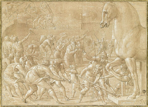 Les Troyens faisant entrer dans leurs murs le cheval de bois