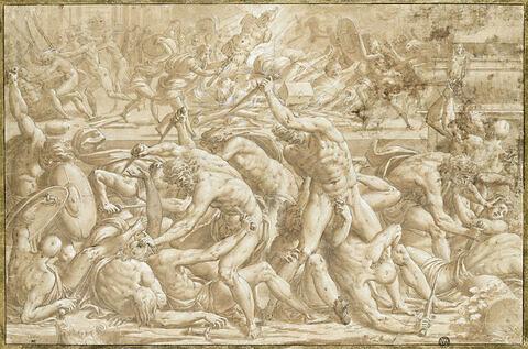 Combat d'hommes nus devant un bûcher