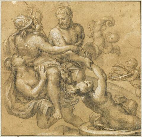Mercure, Minerve, Hercule tirant la vérité de son puits