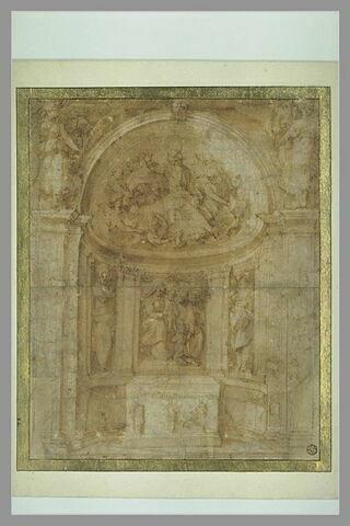 Décor d'autel avec la Vierge à l'Enfant, des saints et Dieu le Père