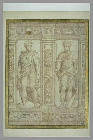Partie de frise avec deux statues de Zaleucus et Scilurus