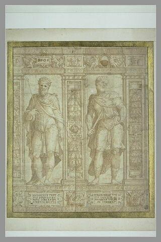 Partie de frise avec deux statues de Charondas et Antiochus