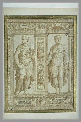 Partie de frise avec deux statues de Sthenius et Agésilas