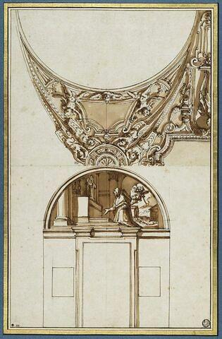 Projet de voûte et de lunette avec saint Charles Borromée en prière