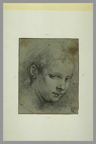 Tête de jeune femme, de trois quarts, tournée vers la droite
