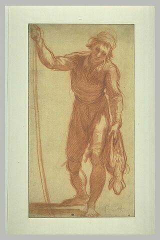 Paysan appuyé sur un bâtont et portant de la main gauche un agneau