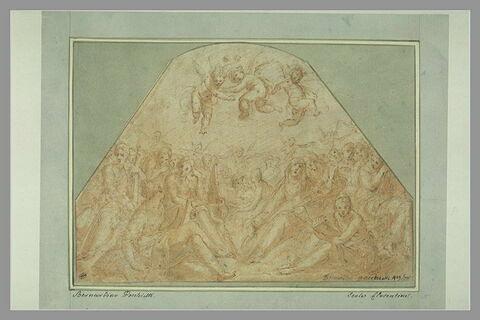 Sainte Ursule, assise, entourée de vierges jouant de divers instruments