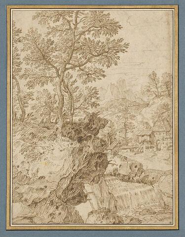 Paysage de montagnes et de collines boisées avec de petites maisons et un cours d'eau
