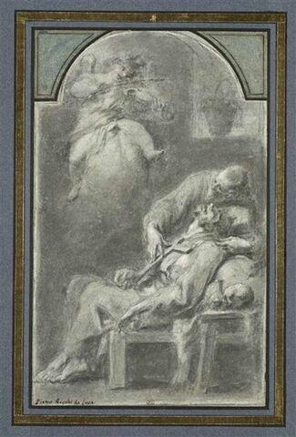 Saint François consolé par la musique d'un ange violoniste