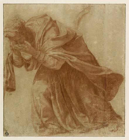 Femme drapée, penchée en avant, les mains devant ses yeux