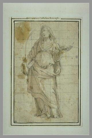 Femme drapée, tenant la palme, un livre et la couronne du martyre