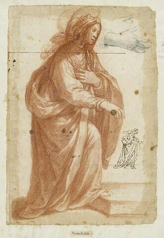 Etude pour la Vierge de la 'Visitation' ; reprise de la figure et de sa main droite