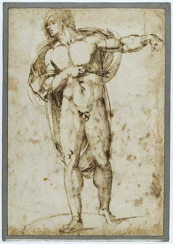 Saint Sébastien debout percé d'une flèche