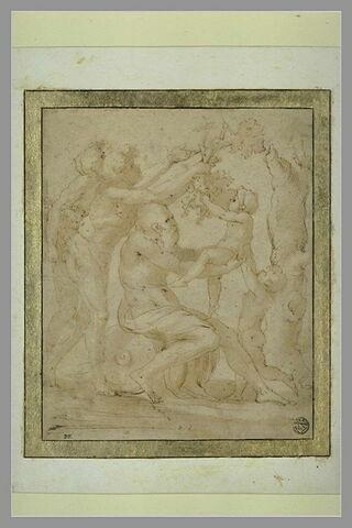 Silène assis sur une urne renversée, portant dans ses bras le jeune Bacchus