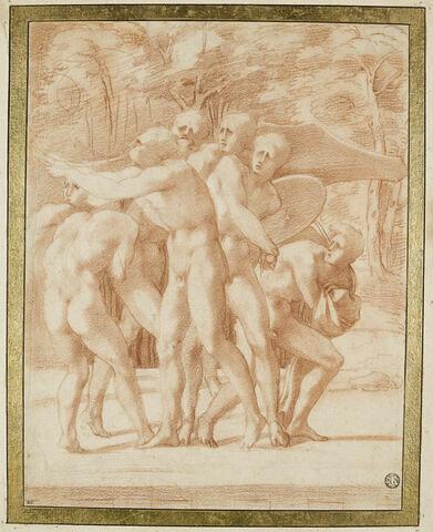 Groupe d'hommes nus debout, regardant vers la gauche avec frayeur