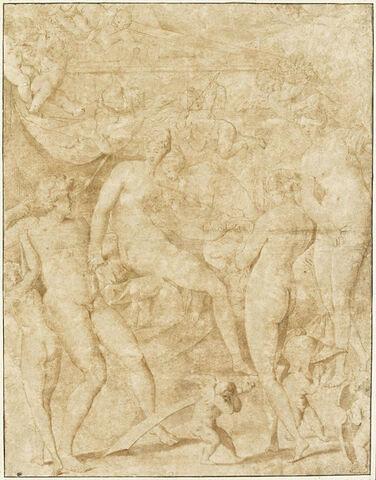 Mars désarmé par Cupidon, et Vénus dévêtue par les nymphes