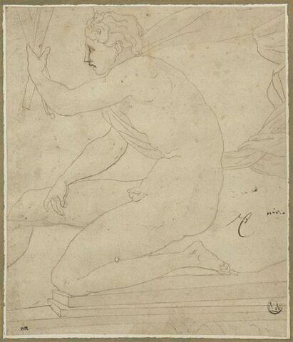Homme nu, à demi agenouillé, de profil vers la gauche : Apollon?