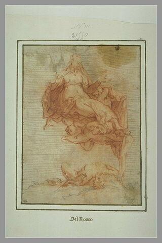Femme assise, portée par des anges ; un homme renversé sur le dos