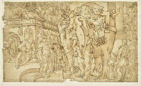 Plusieurs figures et un éléphant près d'un palais : l'elephant fleurdelysé
