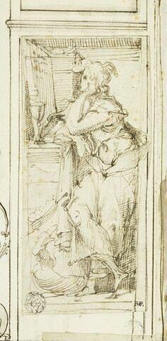 Saint Jean l'Evangéliste, appuyé contre un autel