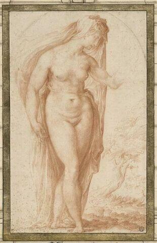 Femme nue, avec un voile, tournée vers la droite, encadrée dans une niche