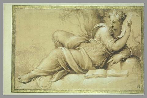Figureféminine drapée, allongée près d'un livre, et tenant une banderolle